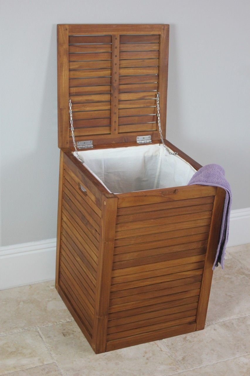 The Original Nila Large Size Teak Laundry Or Storage Hamper