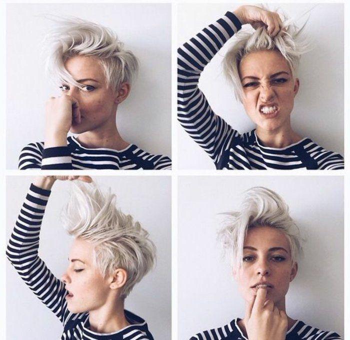 coupe de cheveux court femme blond vers blanc women. Black Bedroom Furniture Sets. Home Design Ideas