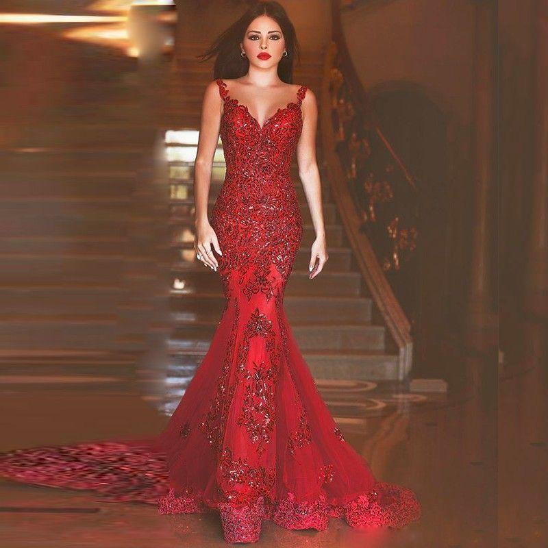 red mermaid trumpet dress