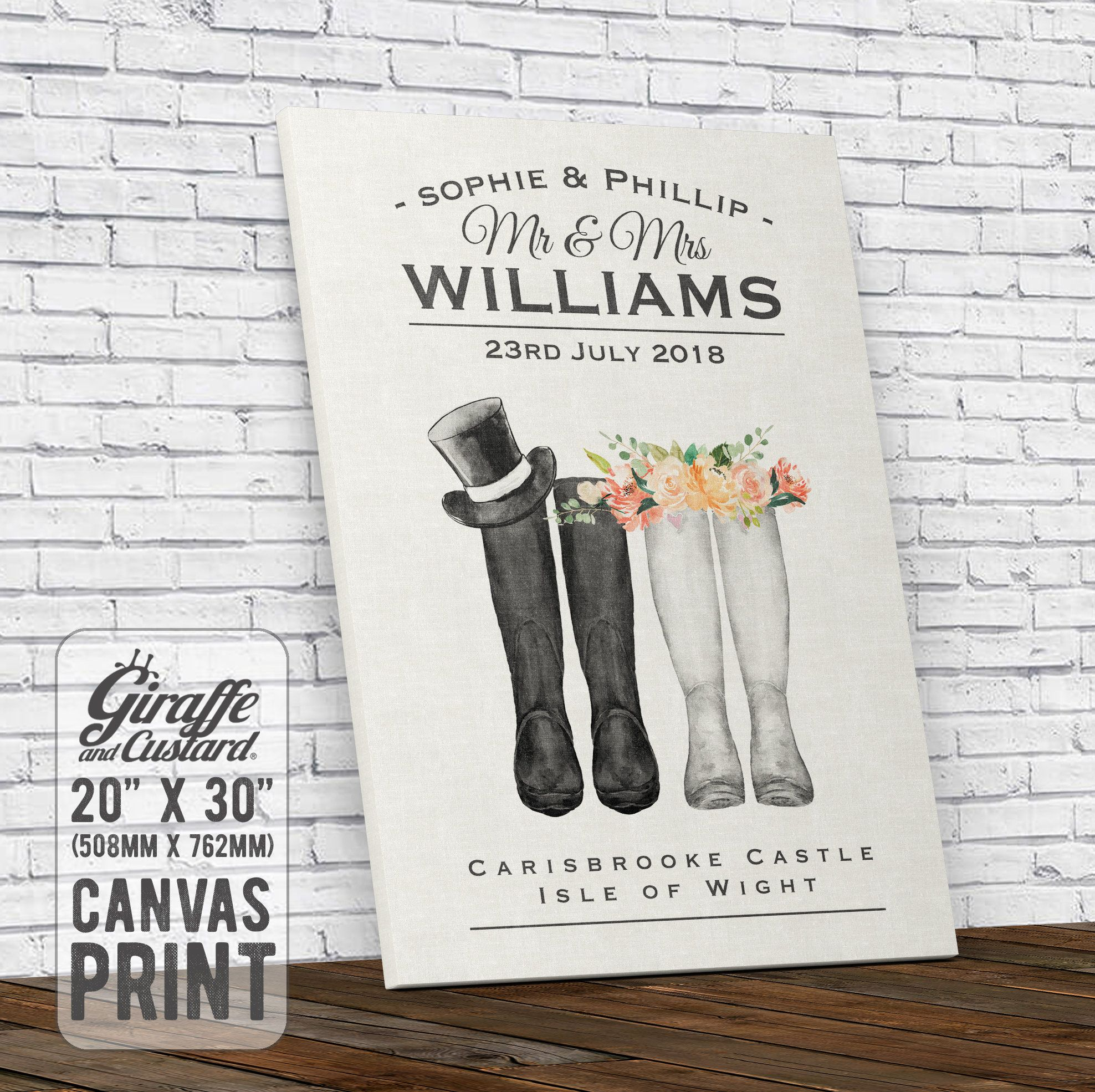 Personalised Wedding Canvas Wall Art Print Gift Bride And Groom Welly Boots 20 X 30 I Personalized Wedding Canvas Wedding Canvases Wall Art Art Print Gifts