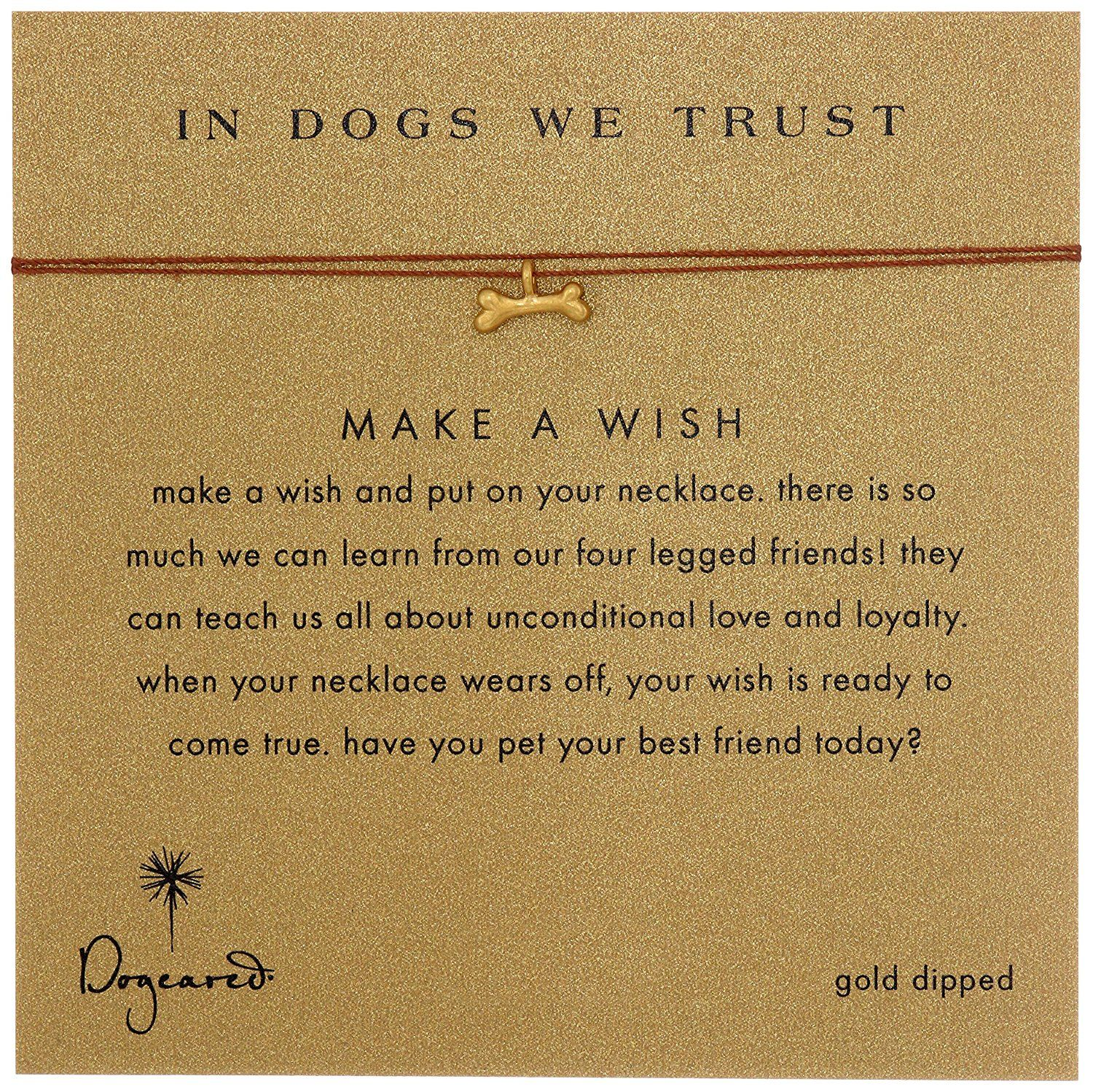 Dogeared Make A Wish In Dogs We Trust Dog Bone Tobacco Necklace