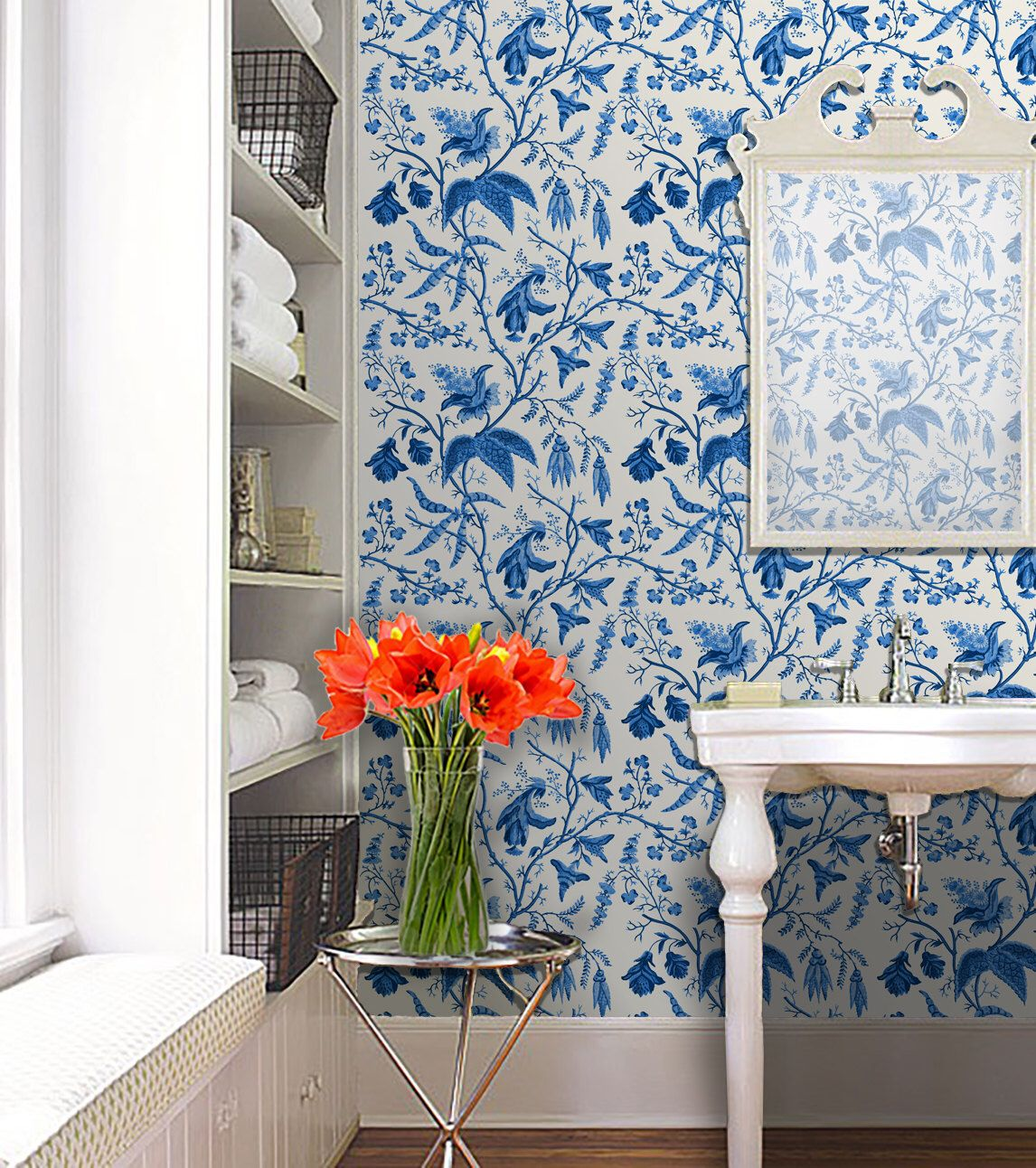 Chinoise Blue Peel 'n Stick or Traditional Wallpaper