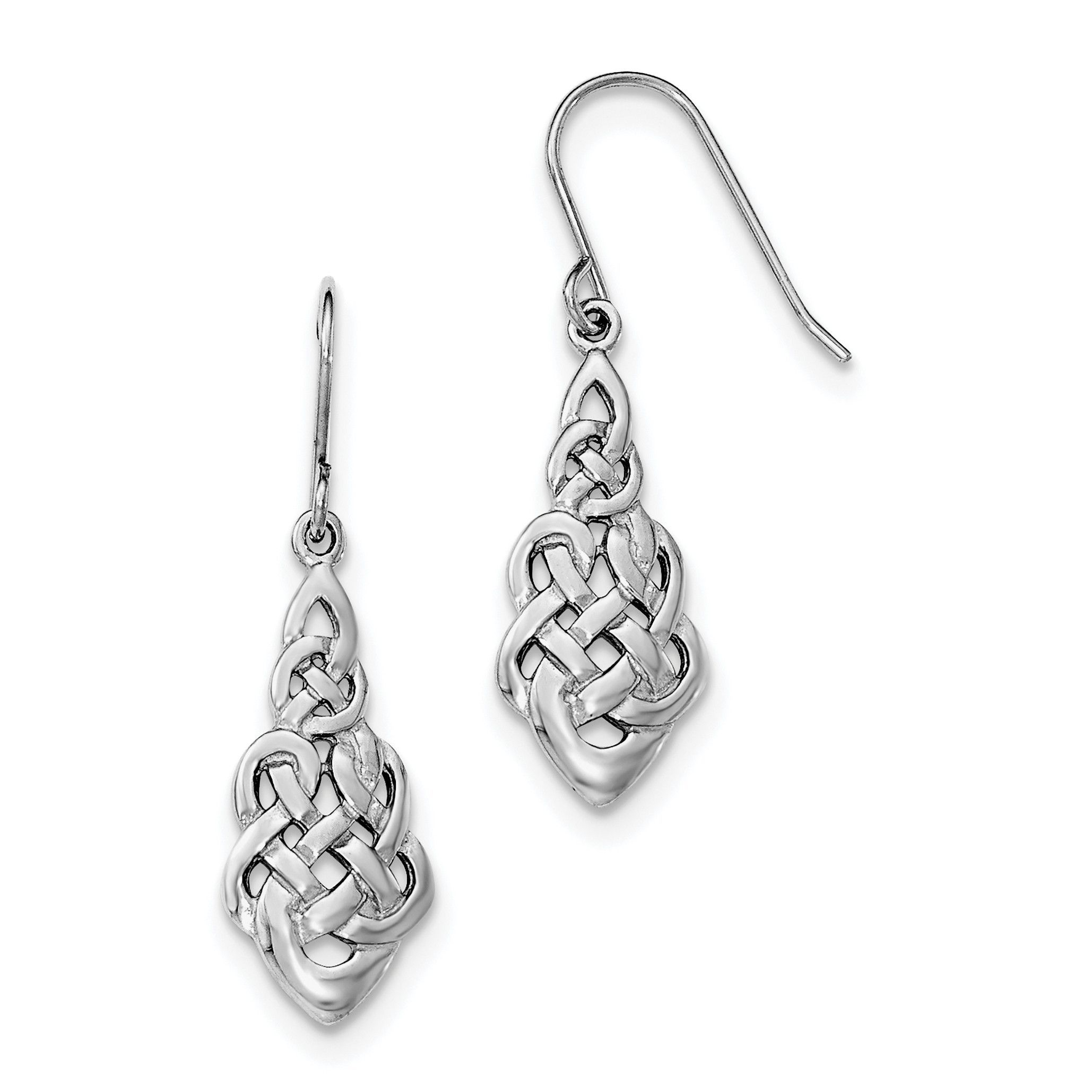 Sterling silver rhodiumplated polished celtic knot shepherd hook