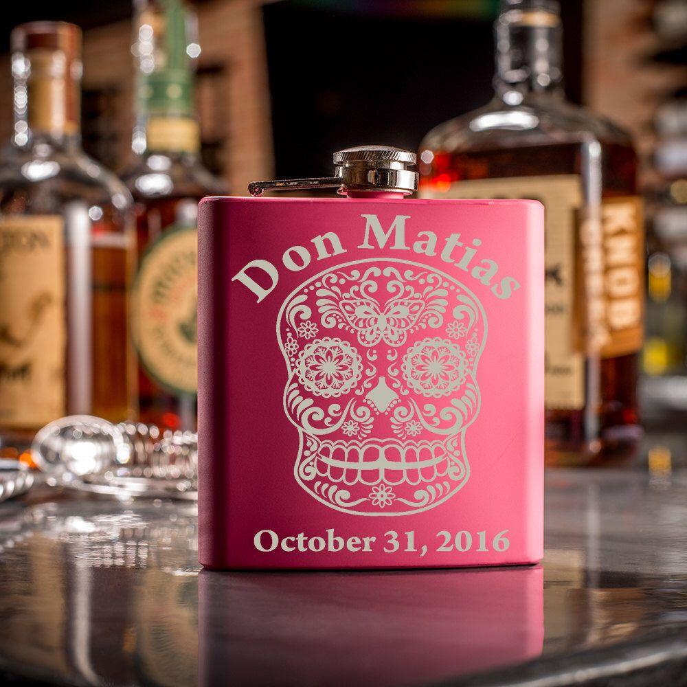 1 Custom Sugar Skull Flask- Dia De Los Muertos- Day Of The Dead ...