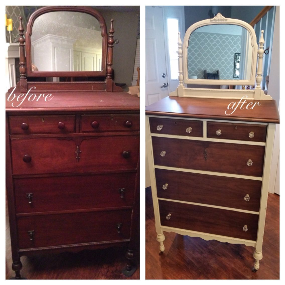 Antique Highboy Dresser With Mirror Painted With Annie Sloan