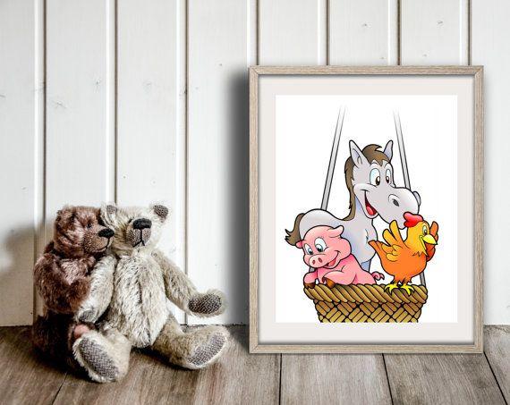 Animals print Animals in balloon Pig print by InstantDownloadArt1