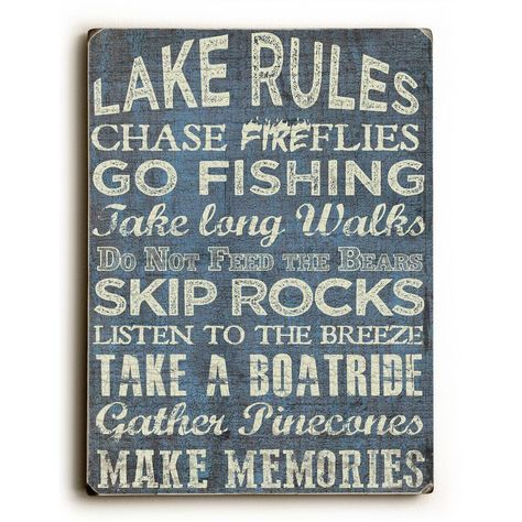 "Photo of ArteHouse 9 in. X 12 in. ""Lake Rules"" von ArtLicensing Massivholz-Wandkunst 0009-7052-25"