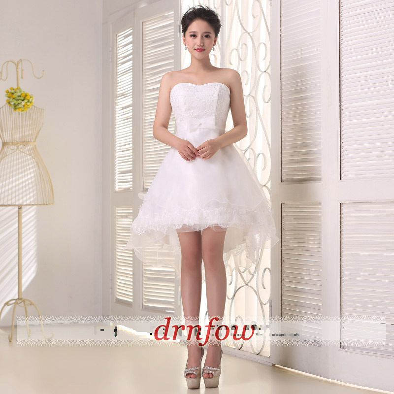 Brand New Sexy Strapless Short Homecoming Dresses Cheap 2016 Prom Hi Lo Lace Bow Party Formal Dress Summer Style Color Champagne-inHomecoming Dresses from Weddings & Events on Aliexpress.com   Alibaba Group