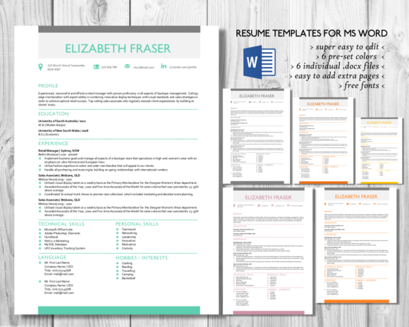 Resume Simple Format Simple Resume Template Word Formatinkpower On Creative Market .