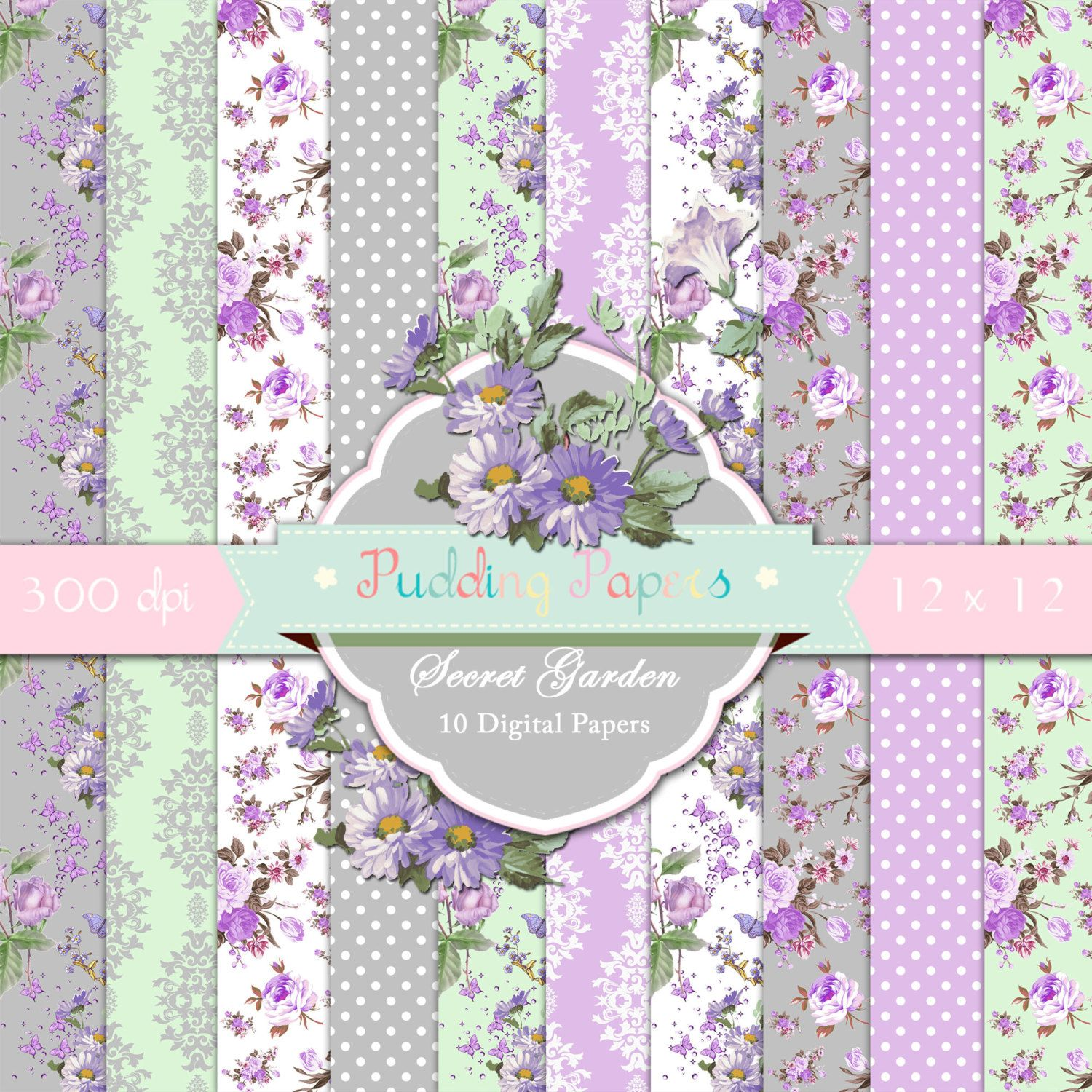 Secret Garden - Instant Download Digital Paper Scrapbook Paper Floral Paper Decoupage Paper Shabby Chic Purple Grey Wedding Paper puddingpapers 4.60 USD