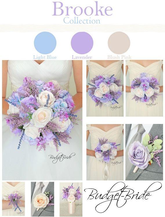 Davids Bridal Iris Lavender And Capri Ice Blue Wildflower Bouquet With Blush Pink Roses Wedding Flowers Pinterest