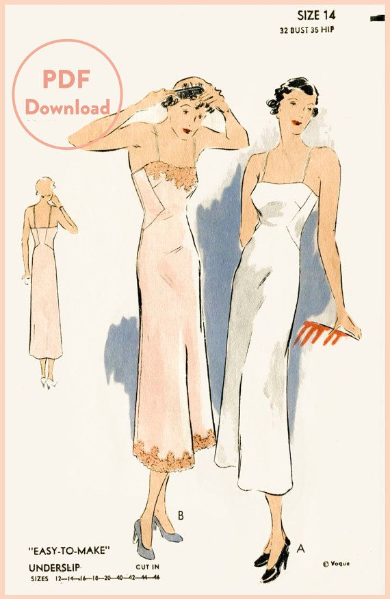 1930s 30s vintage lingerie sewing pattern lace slip dress negligee ...