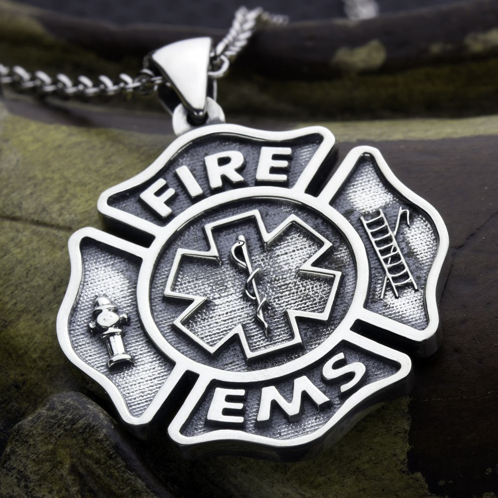 fire firefighter cross pendant galery necklace traumspuren maltese mom