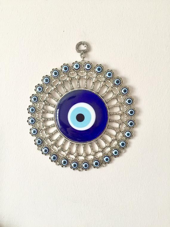 Turkish Nazar Glass Evil Eye  Elephant /& Fatima Hand Wall Hanging  /& Clock