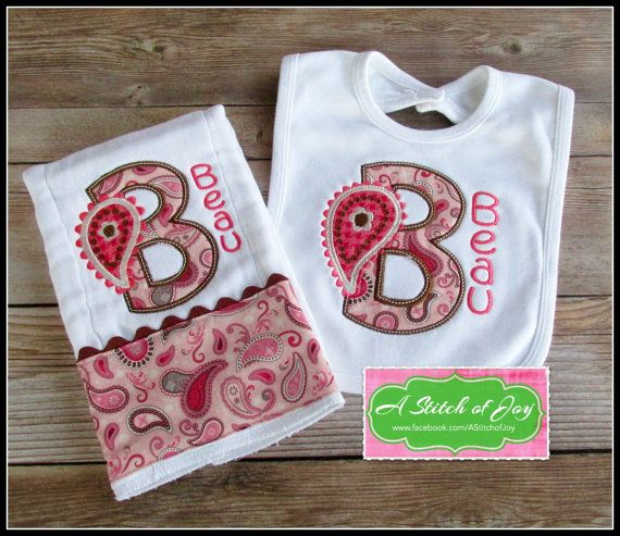 Personalized baby gift paisley burp set paisley bib set baby and personalized baby gift paisley burp set paisley bib set negle Images