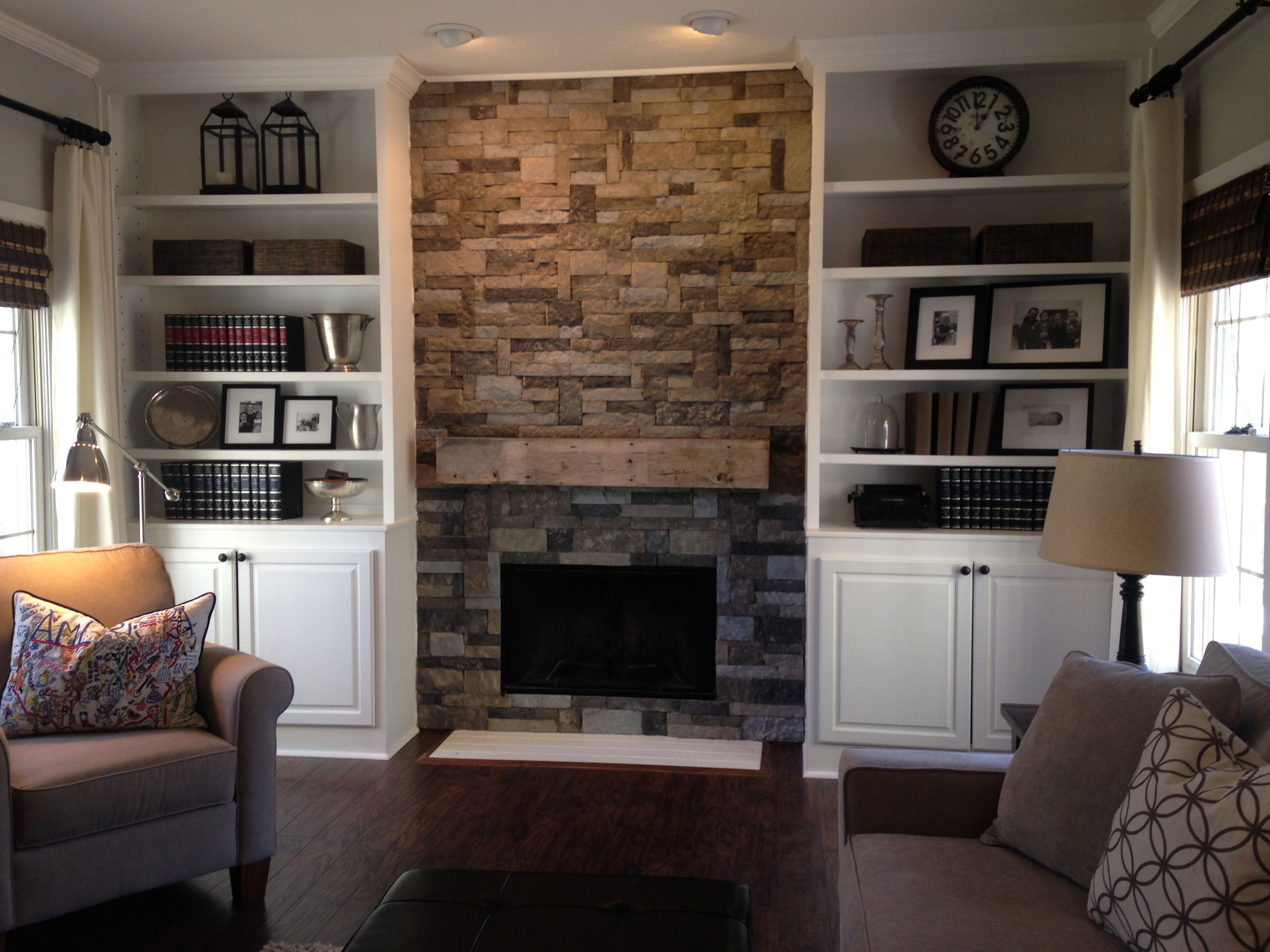 Airstone Fireplace In Spring Creek Color. Mantle Made From Barn Wood.