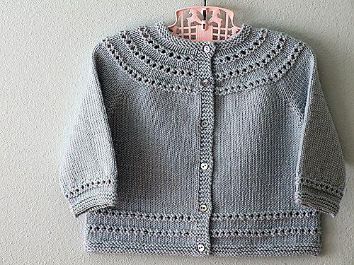 Eyelet Yoke Baby Cardigan | Baby cardigan knitting pattern ...