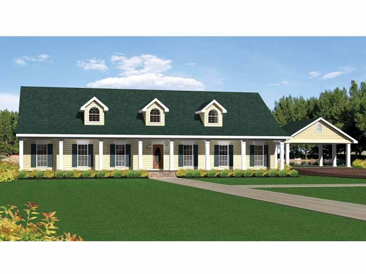 Country Style House Plan 4 Beds 3 Baths 2492 Sq Ft Plan 44 156 Country Style House Plans Southern House Plans Country House Plans