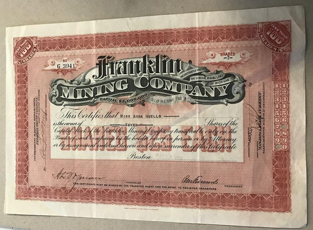 Michigan stock certificate franklin mining company 1920