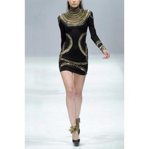 Herve Leger 2012 Black Long Sleeves Scoop neck Sass Bide Embellished Jersey Bandage Dress H02H