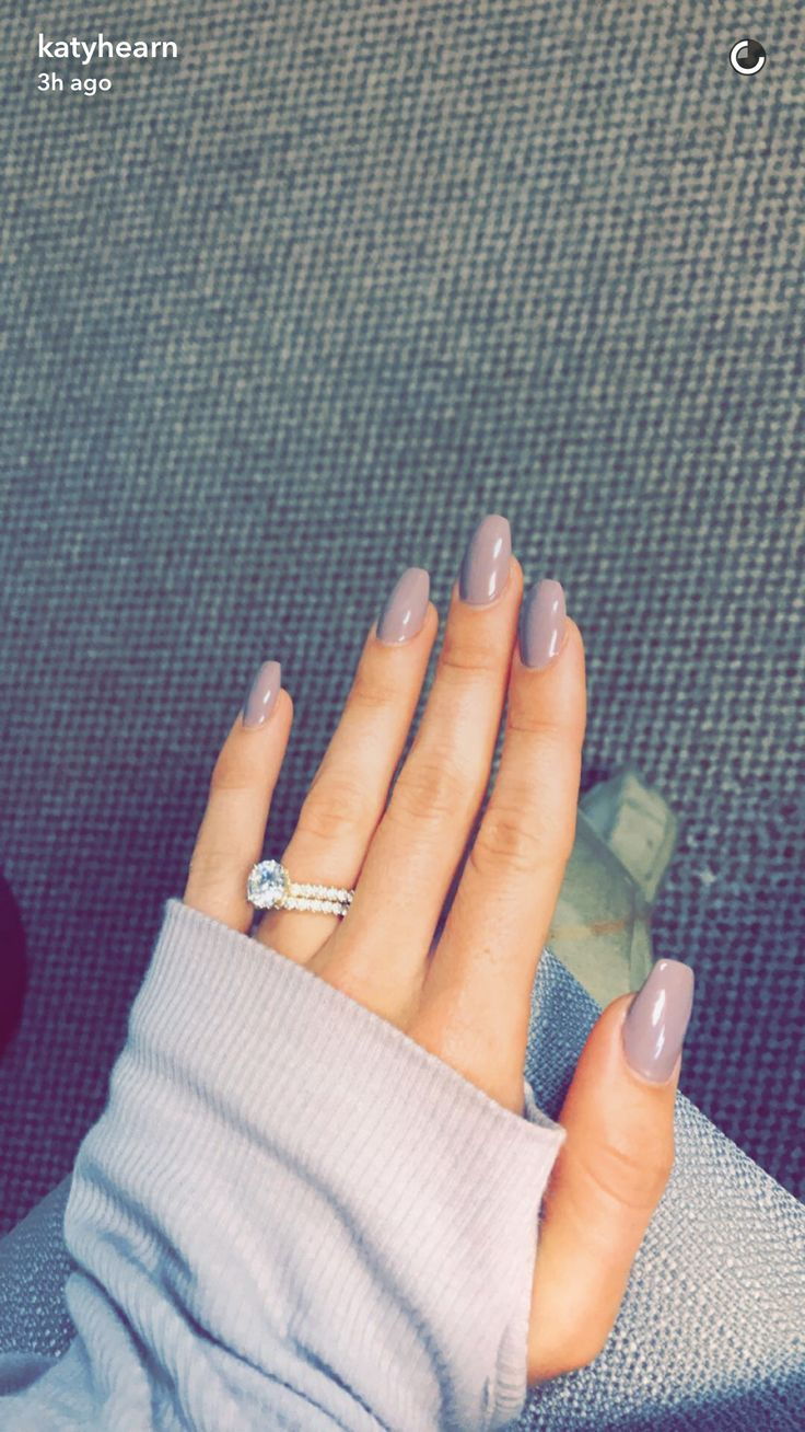 Beautiful taupe lilac acrylic coffin nails and huge engagement ring ...