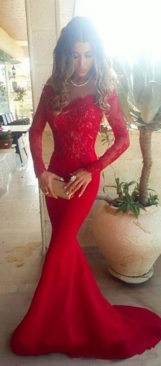 Long Sleeves Red Lace Prom Dresses Wedding Dress Mermaid Sheath Evening Y On