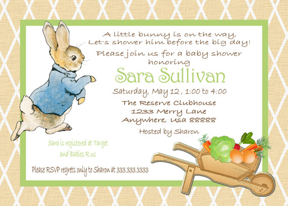 Peter Rabbit Baby Shower Invitations Beatrix Potter bunny Easter 1st