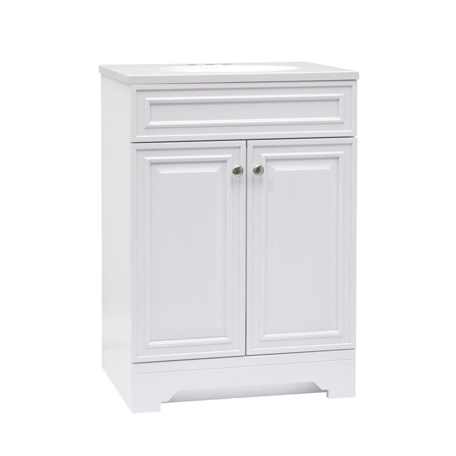 Style Selections Kerrington 24 In White Single Sink Bathroom Vanity With White Cultured Marble Top Lowes Com Bathroom Sink Vanity Single Sink Bathroom Vanity White Vanity Bathroom