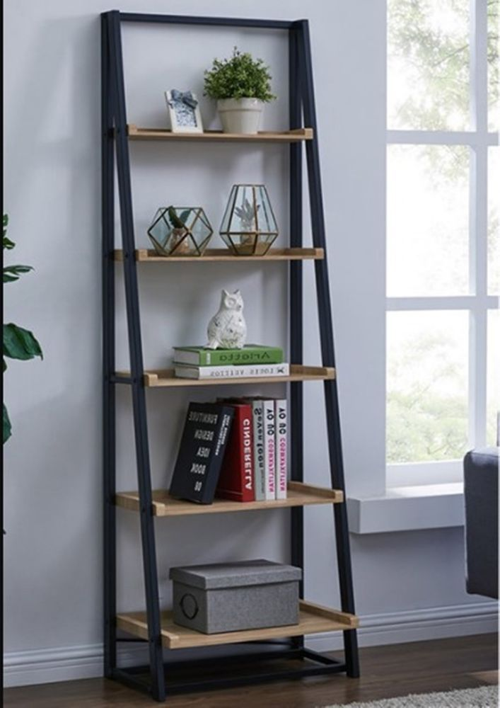 Industrial Tall Bookcase Wood Metal Ladder Style Shelving Unit
