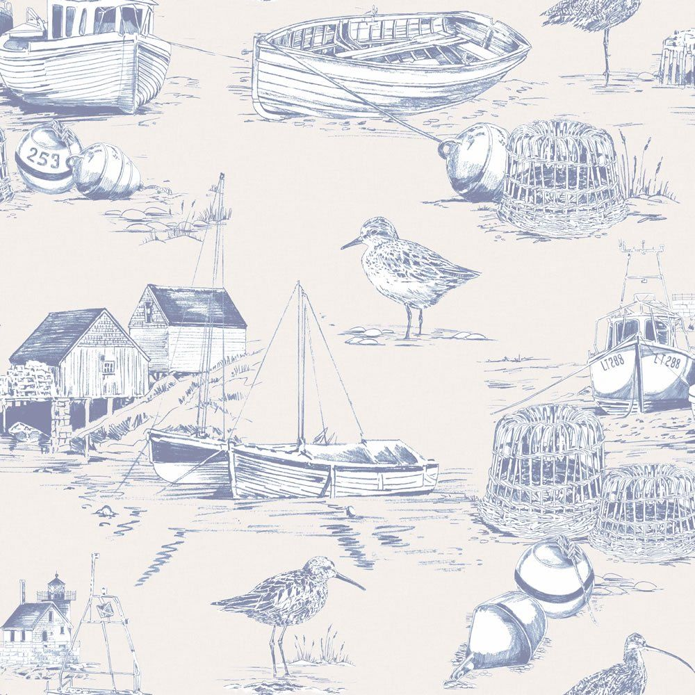 Arthouse Curlew Bay Blue Wallpaper Nautical wallpaper