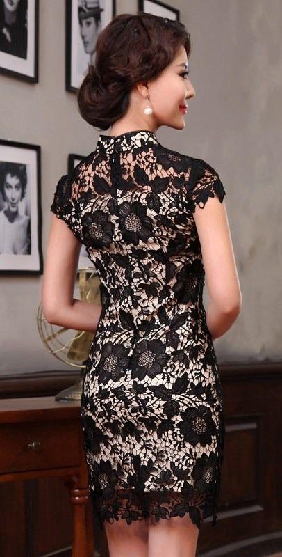 5d1571a08 Vestido Chino De Encaje Negro Fino Y Fondo Beige P fiesta -   2