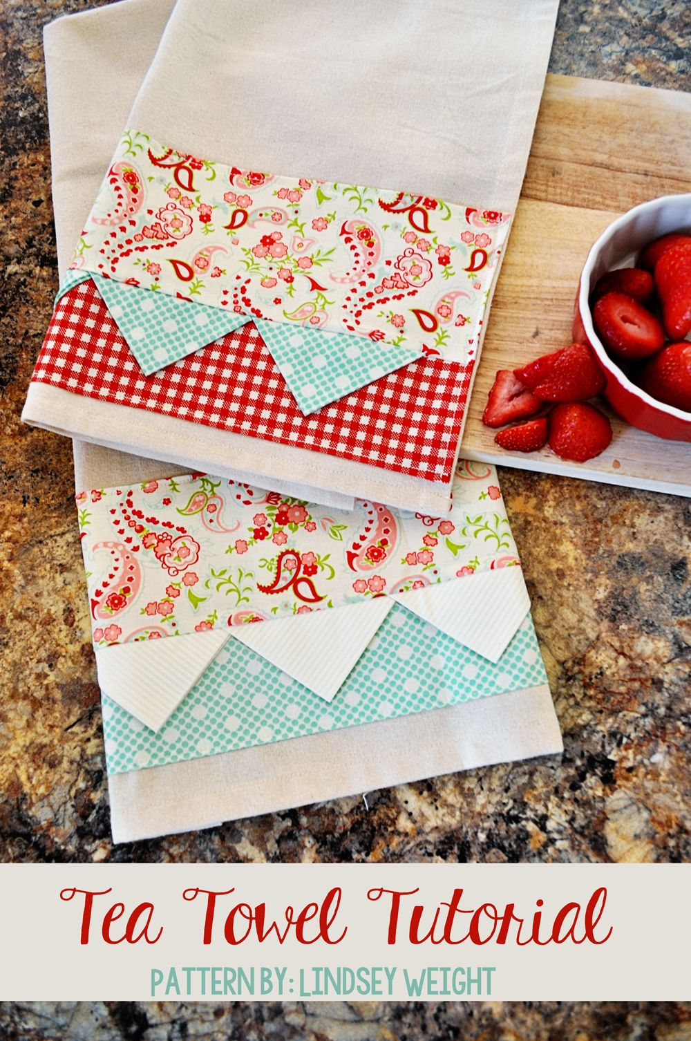 Vintage kitchen towel tutorial peek-a-boo pages.