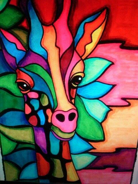 Jirafa De Colores Pinturas Abstractas Arte De Jirafas Pinturas