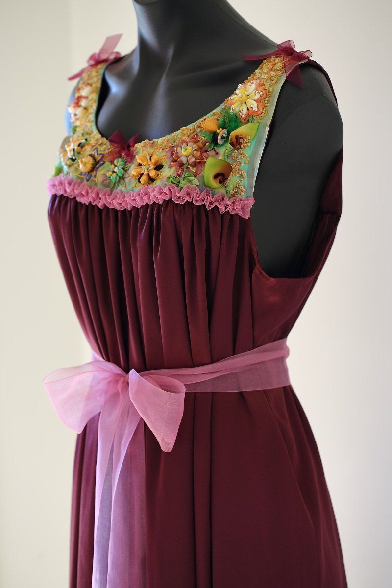 New piece listing soon burgundy satin gown with embellished yoke or