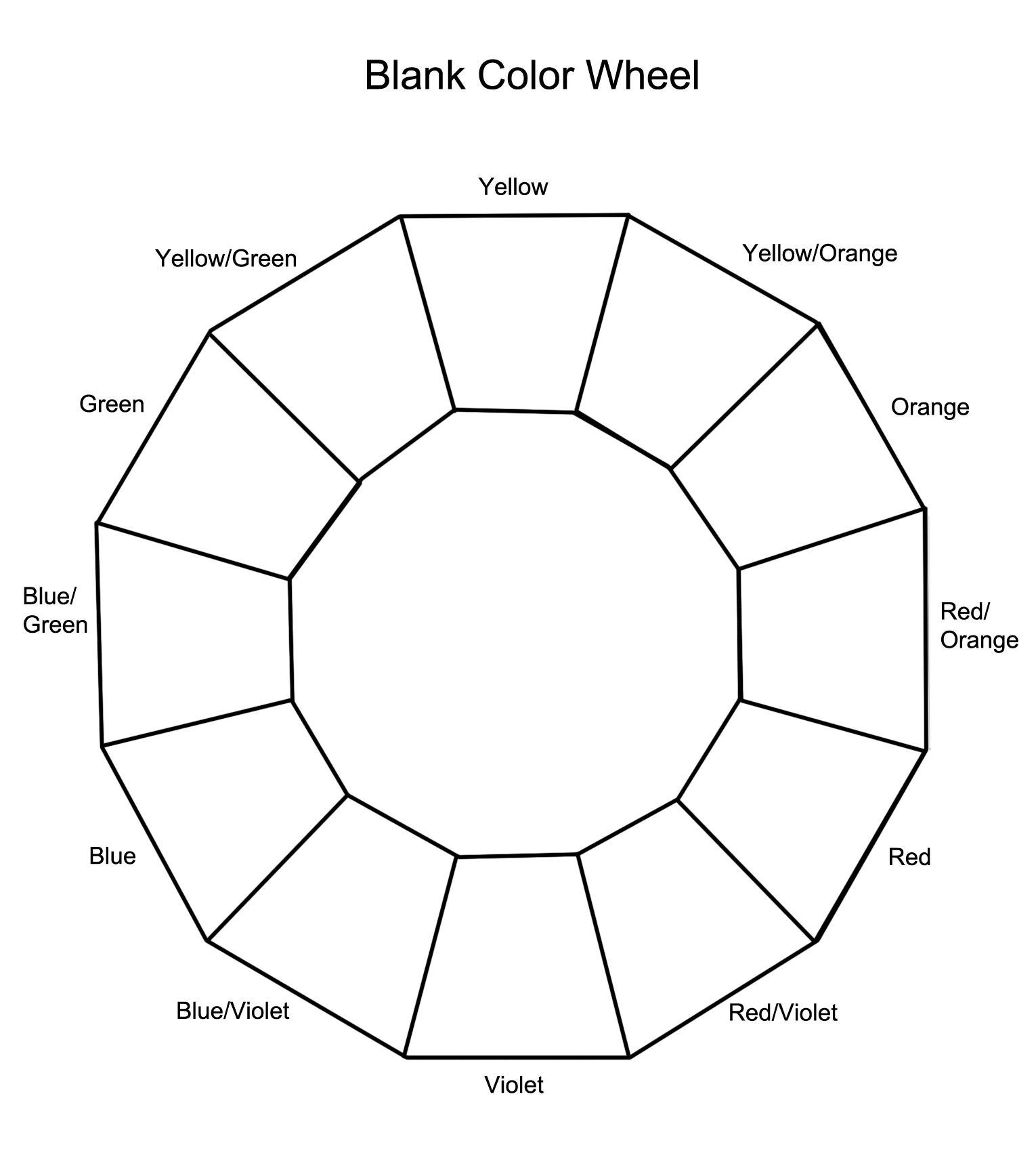 Color theory worksheet for kids - 12 Section Colour Wheel Free Pictures