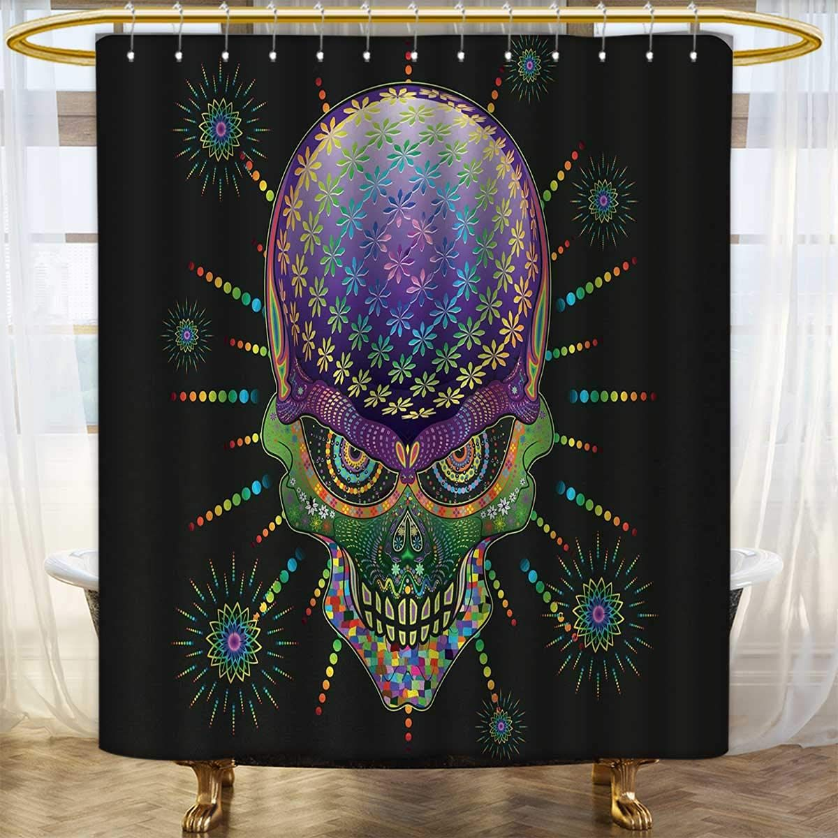 Anhounine Psychedelic Print Shower Curtain Digital Mexican Sugar