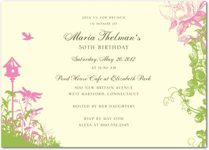 Tea Garden  Party Invitations In Heather Or Purple  Lady Jae