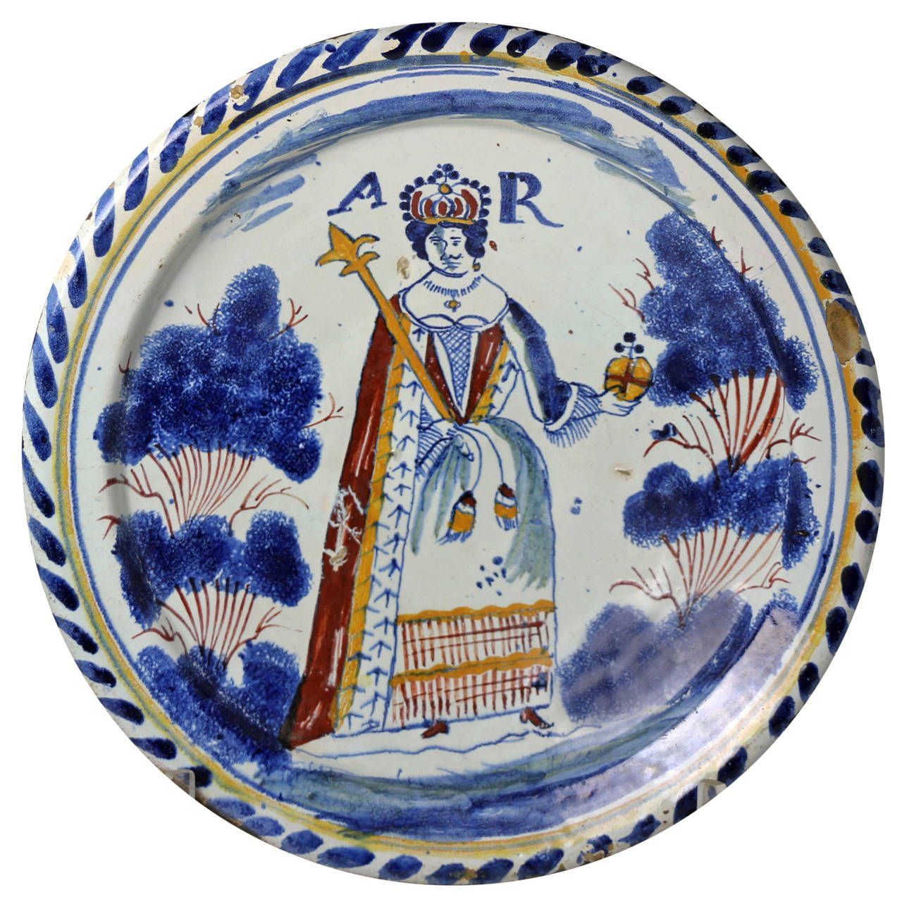 English Delftware Pottery Blue Dash Royalty Portrait Charger of Queen Anne, circa 1700