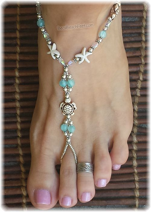 Summer fun! Ankle Chains Barefoot sandals FiFeet Foot Jewellery SALE