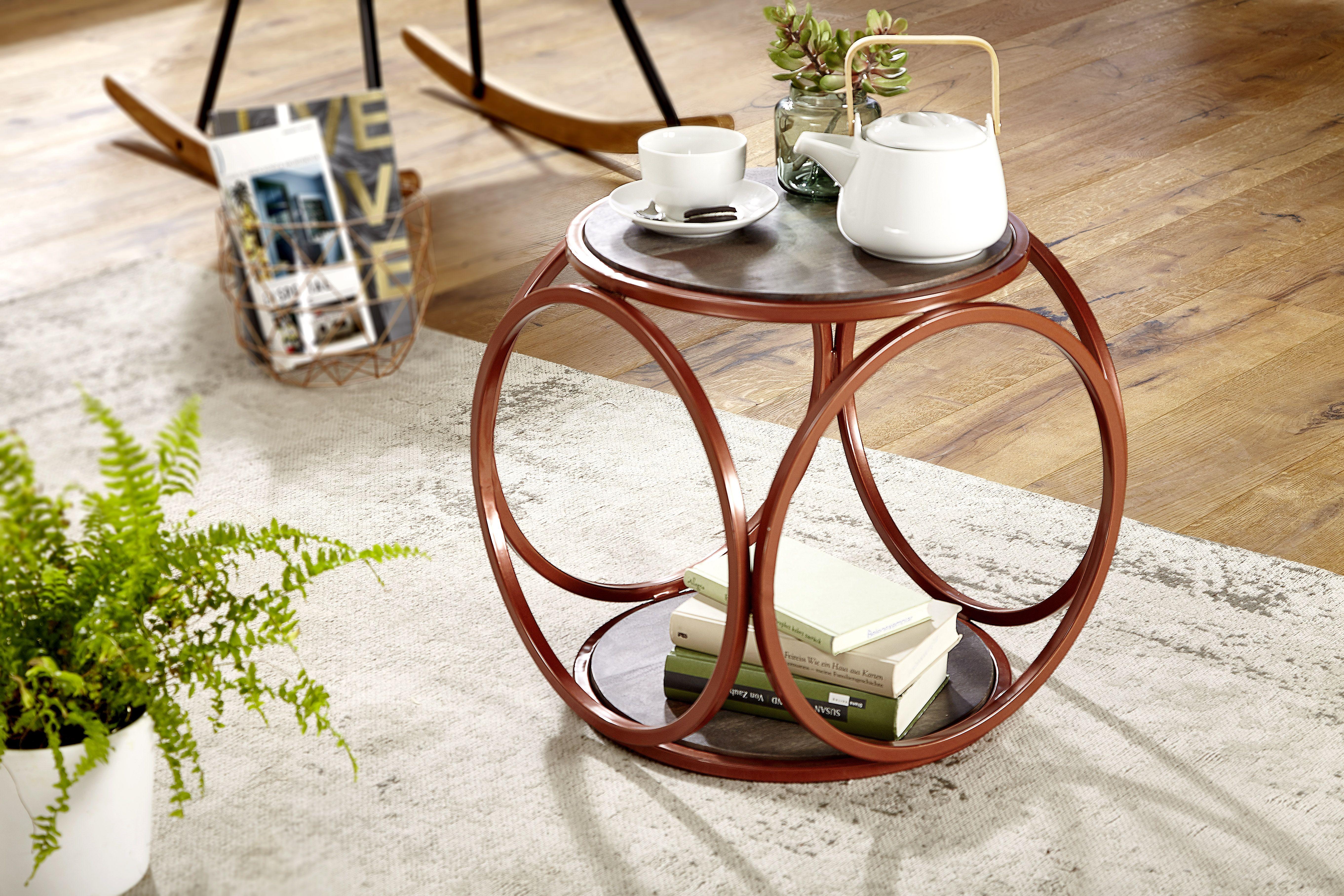 Wohnling Beistelltisch Rund Smoke Gray Wl5 675 Aus Akazie Massivholz Und Kupferfarbenem Pulverbesc Dunkle Holzkuchen Dunkles Holz Schlafzimmer Holztisch Design