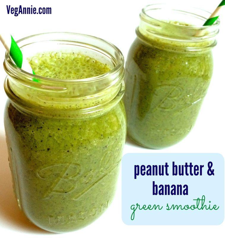 Peanut Butter & Banana Green Smoothie (vegan, gluten-free, high-fiber) - VegAnnie.com