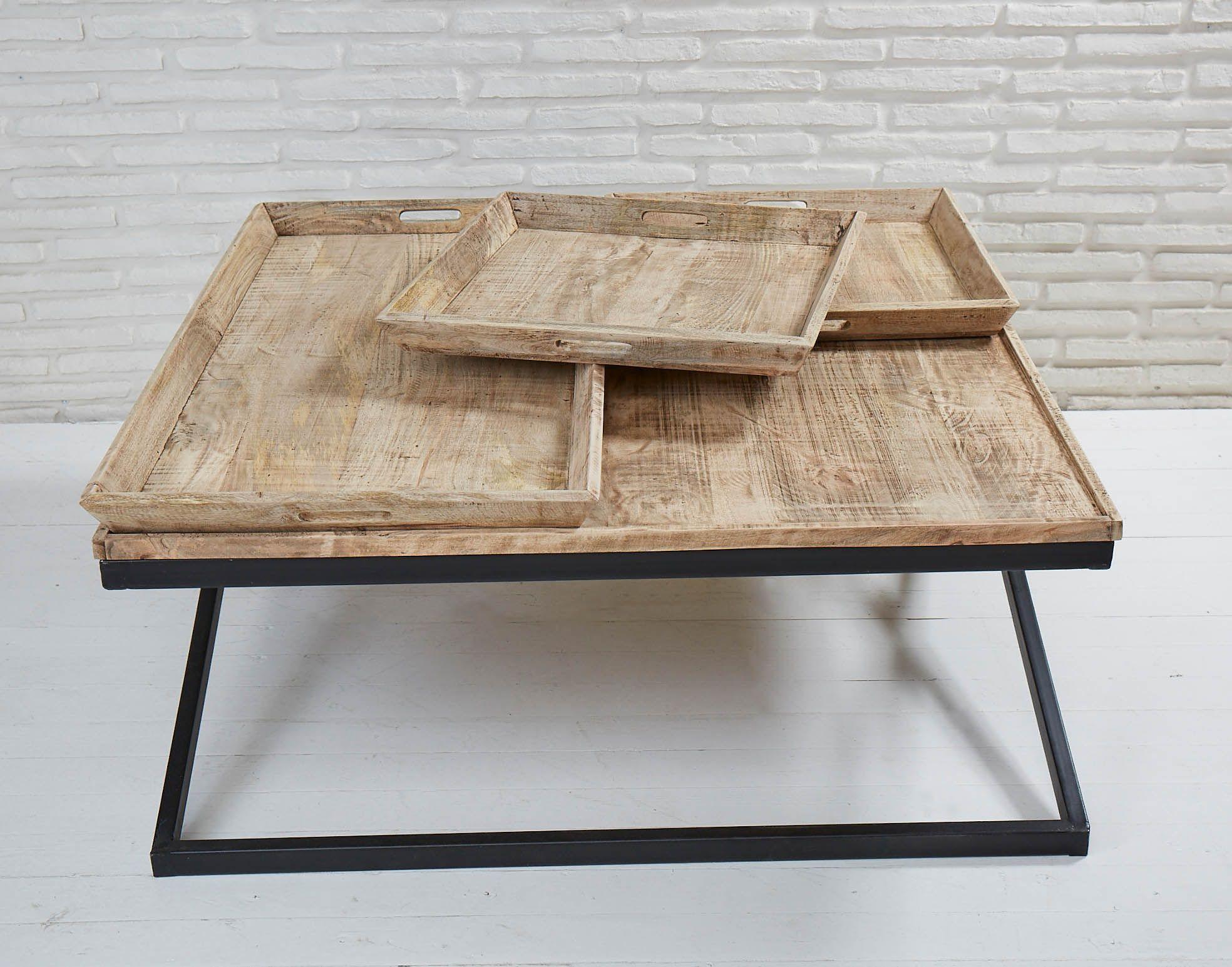 Massiver Couchtisch Mit Drei Abnehmbaren Tabletts Couchtisch Wohnzimmertisch Beistelltisch Tabletttisch Tabletts Mangoho Couchtisch Wohnzimmertisch Tisch