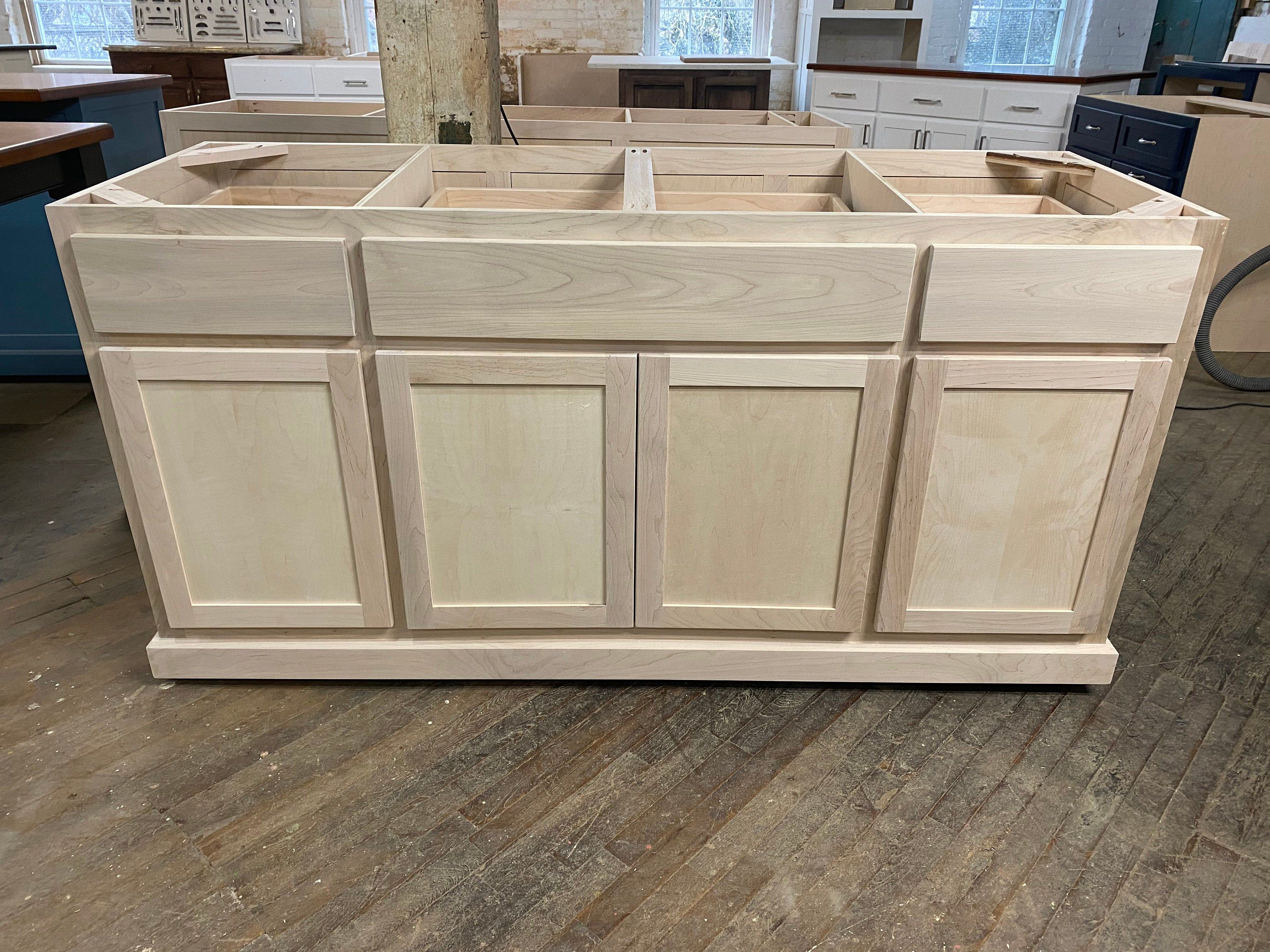 Diy Ready To Paint Cabinet Kitchen Island Custom In 2020 Unfinished Cabinets Kitchen Island With Seating Painting Cabinets