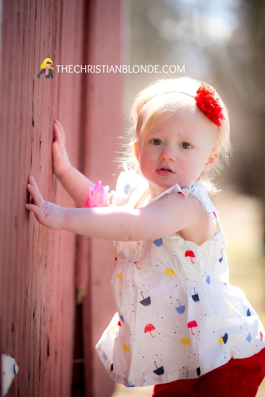 Rustic Red Barn One Year Old First April Showers Bring May Flowers Photoshoot Photo Shoot Props Ideas Photography