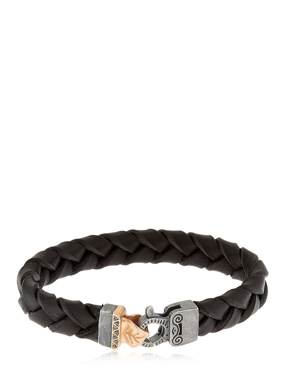 Marco Dal Maso Mens Thin Braided Leather Bracelet, Black