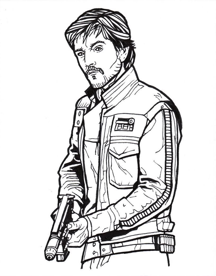 - Captain Cassian Andor From Star Wars Rogue One Dibujo Con Lineas