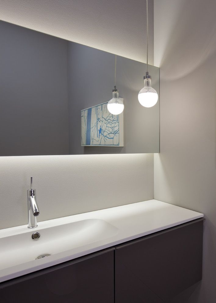 Chic Led Light Strips Technique Chicago Modern Powder Room