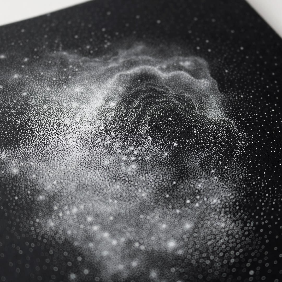 Stippled black and white illustrations of star packed