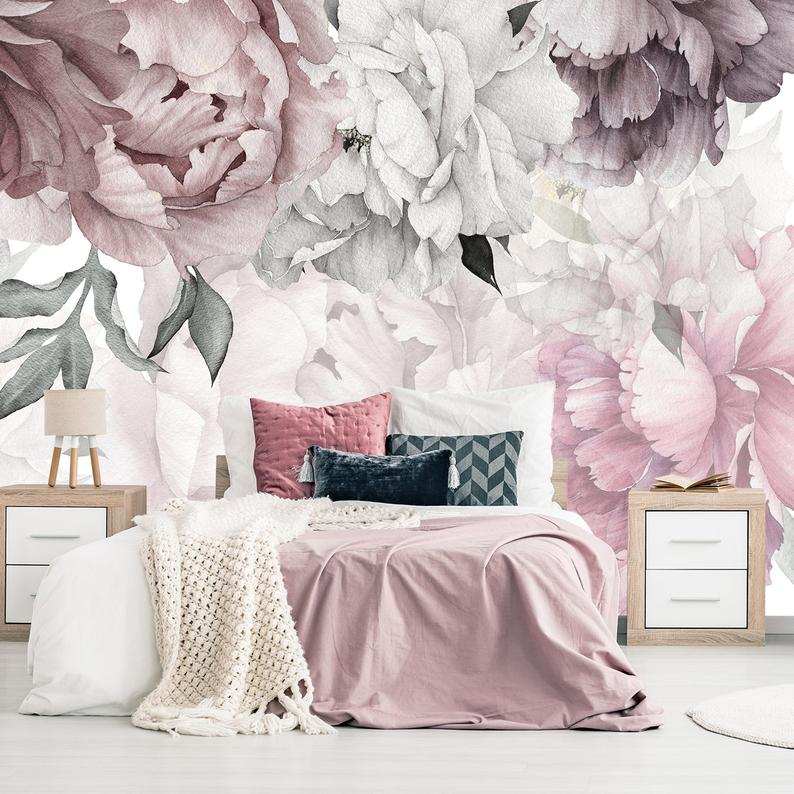 Peonies Wallpaper Removable Floral Wallpaper Peonies Flowers Etsy Floral Wallpaper Bedroom Peony Wallpaper Floral Wallpaper