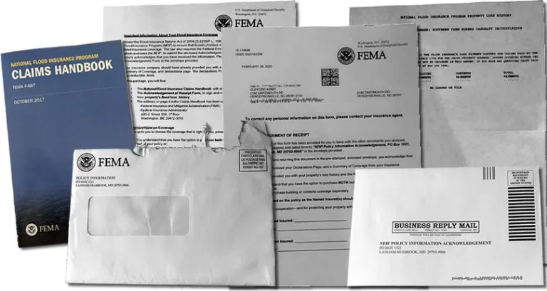 Packet from FEMA about Flood Insurance in 2020 Flood